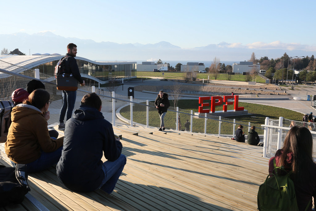 EPFL Campus with students and view