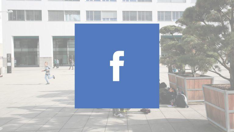 Logo de Facebook avec une vue de l'EPFL