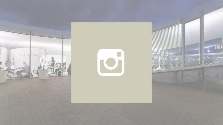 Logo de Instagram avec une vue de l'EPFL