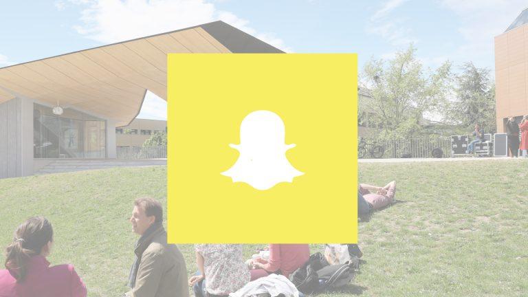 Logo de Snapchat avec une vue de l'EPFL