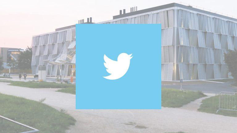 Logo de Twitter avec une vue de l'EPFL