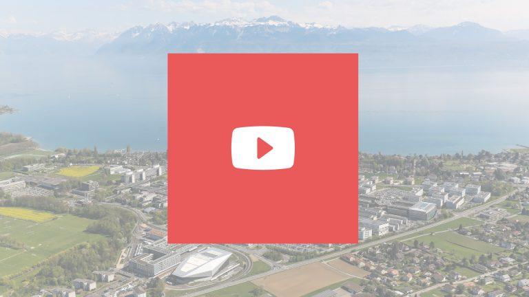 Logo de Youtube avec une vue de l'EPFL