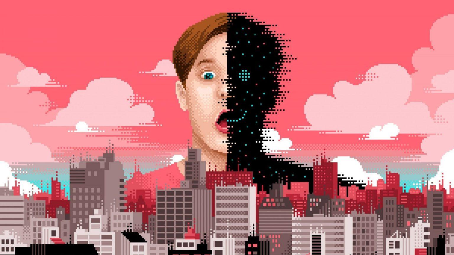 Un personnage pixellisé, face à une ville faite entièrement de pixels © Laurent Bazart / EPFL 2021